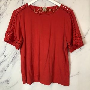 J. Crew Embellished crochet sleeve cotton tee